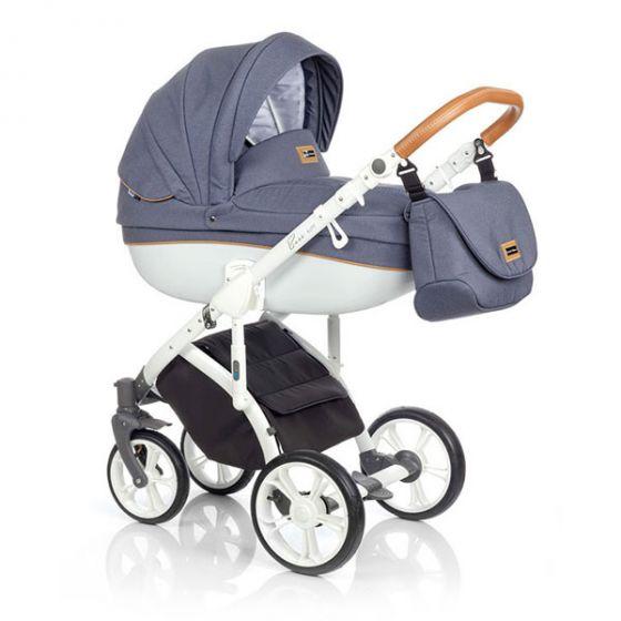 Бебешка количка 2в1 BASS SOFT BLUE COGNAC - ROAN