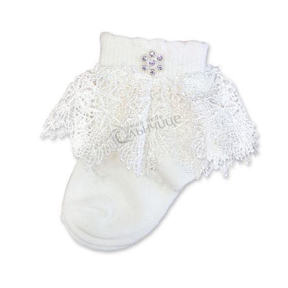 Бебешки чорапки с дантела