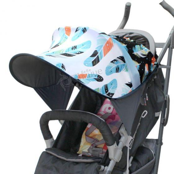 Дизайнерски двулицев сенник за бебешка количка с UV защита - Feathers