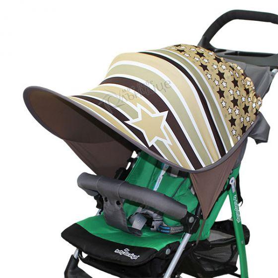 Дизайнерски двулицев сенник за бебешка количка с UV защита - Gold Stars