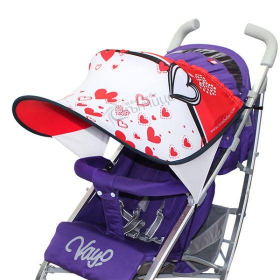 Дизайнерски двулицев сенник за бебешка количка с UV защита - Hearts