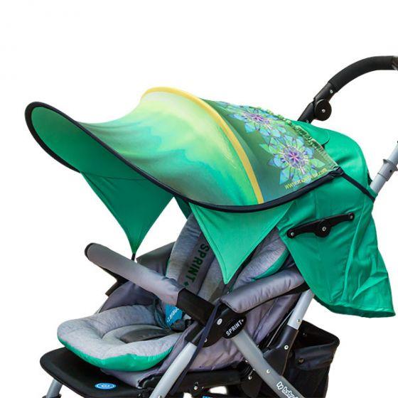 Дизайнерски двулицев сенник за бебешка количка с UV защита - Mandala
