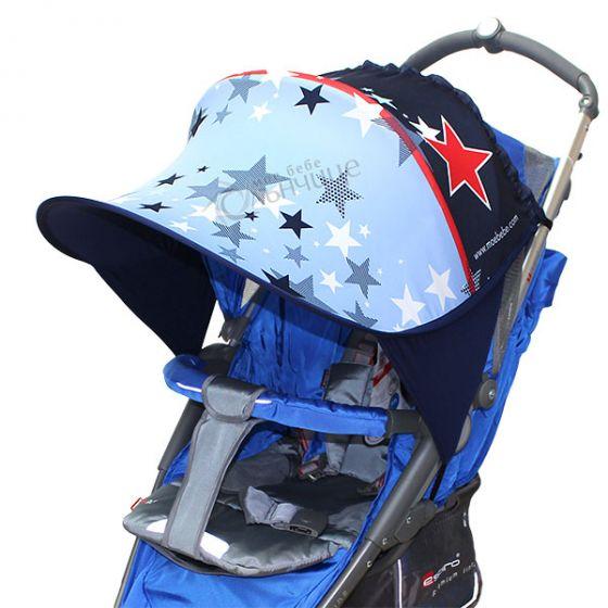 Дизайнерски двулицев сенник за бебешка количка с UV защита - Navy Stars