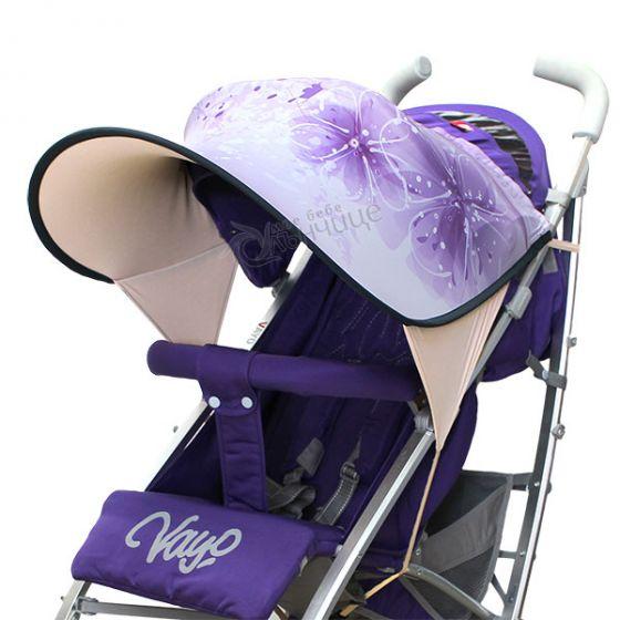 Дизайнерски двулицев сенник за бебешка количка с UV защита - Purple