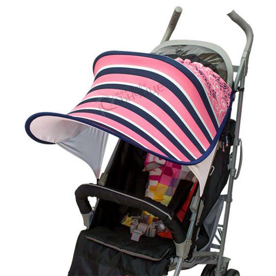 Дизайнерски двулицев сенник за бебешка количка с UV защита - Rose