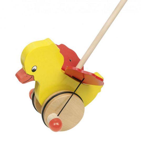 Дървена играчка за бутане - Пате GOKI