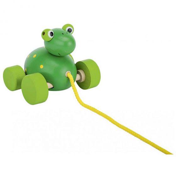 Дървена играчка за дърпане - Жаба GOKI