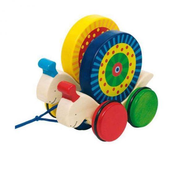 Дървена играчка за дърпане Охлюви - GOKI