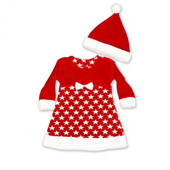 Коледна рокля с шапка Звезда 86-104см