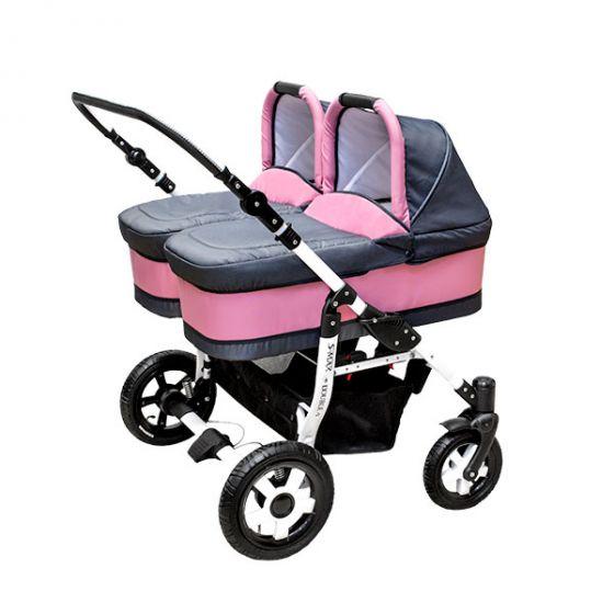 Комбинирана количка за близнаци S-MAX DOUBLE PINK