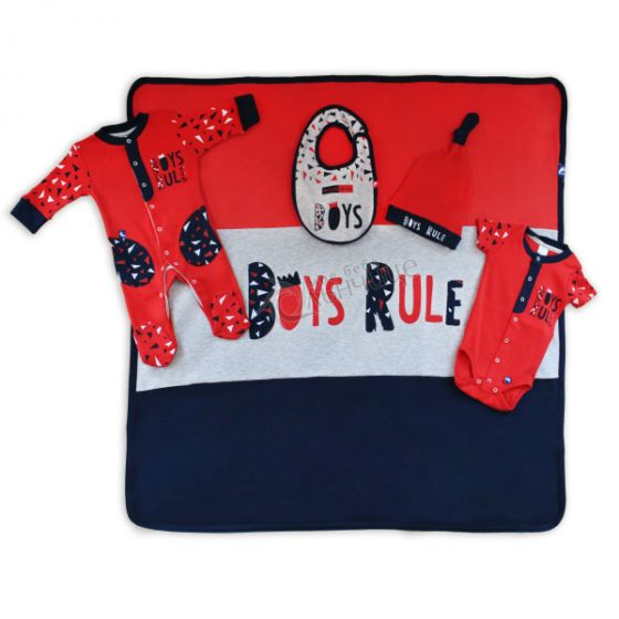 Комплект за изписване Boys Rule - Червен/Син