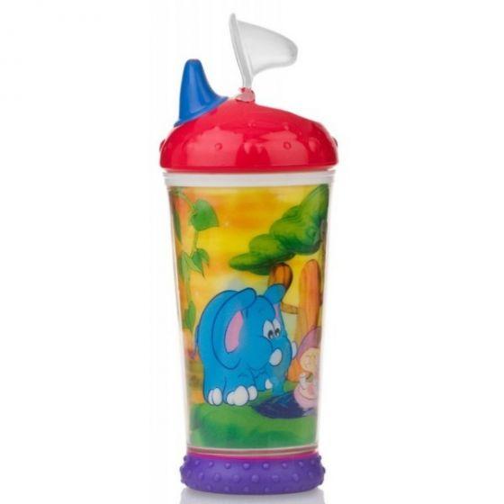 Неразливаща чаша с твърд накрайник и холограмна картинка 9+ NUBY