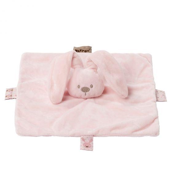 Плюшено зайче с одеяло Розов - Nattou