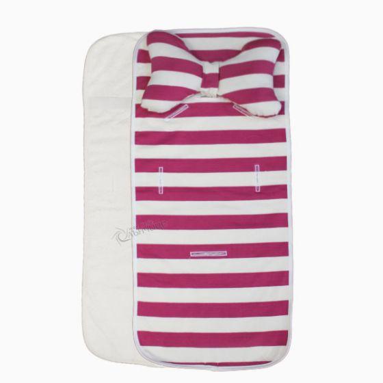 Подложка за количка с възглавница и хавлиен гръб - Pink