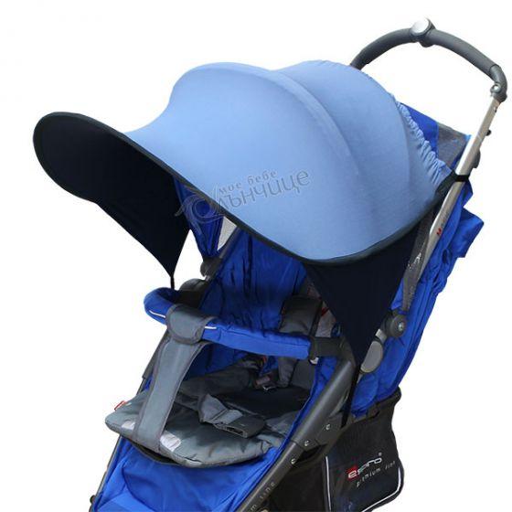 Двулицев сенник за количка с UV защита - Cobalt