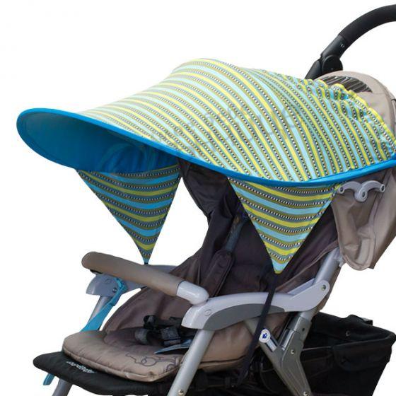 Двулицев сенник за количка с UV защита - Elegant/Син