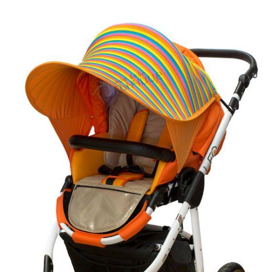 Двулицев сенник за количка с UV защита - Happy/Оранж