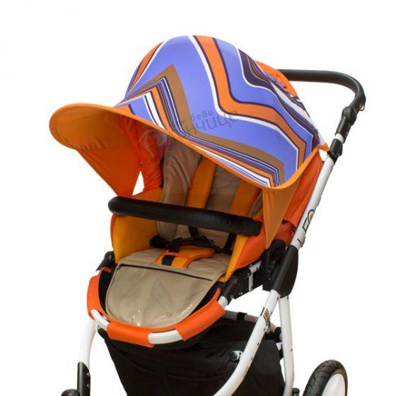 Двулицев сенник за количка с UV защита - Stripe/Оранж