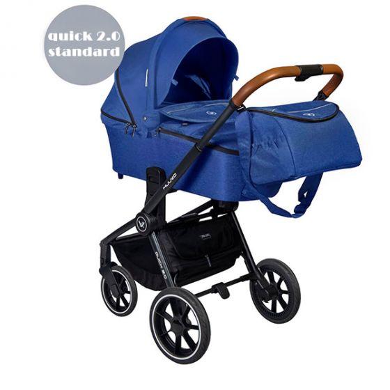 Бебешка количка 2в1 QUICK 2.0 - MUUVO 2020 - Синя със стандартен кош за новородено