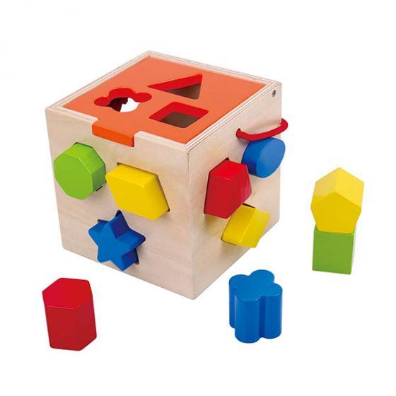 Дървен сортер - куб
