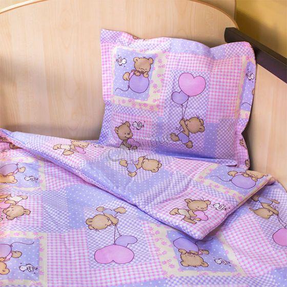 Спален комплект три части - Мече с балони Лилав