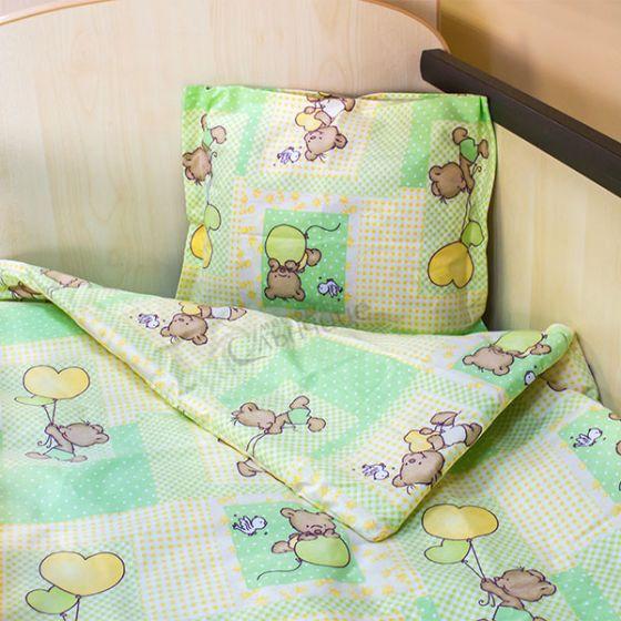 Спален комплект три части - Мече с балони Зелен