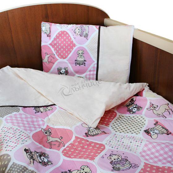 Спален комплект пет части - Animals Розов