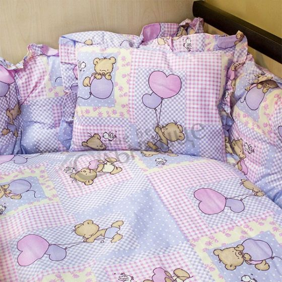 Спален комплект Мече с балони Розов
