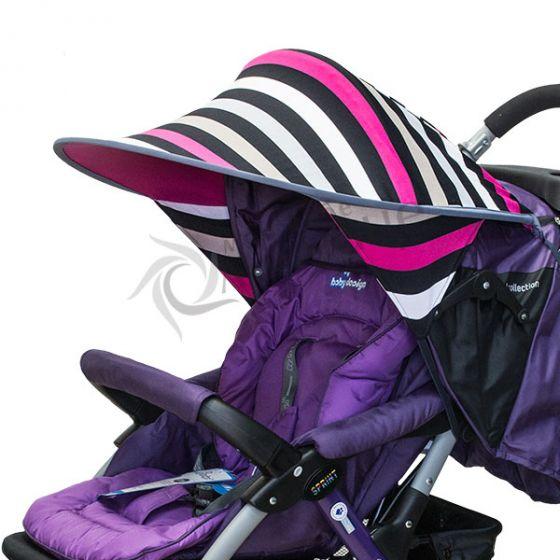 Двулицев сенник за количка с UV защита - Stripe/Розов