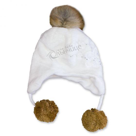 Зимна плюшена шапка - Little Girl White