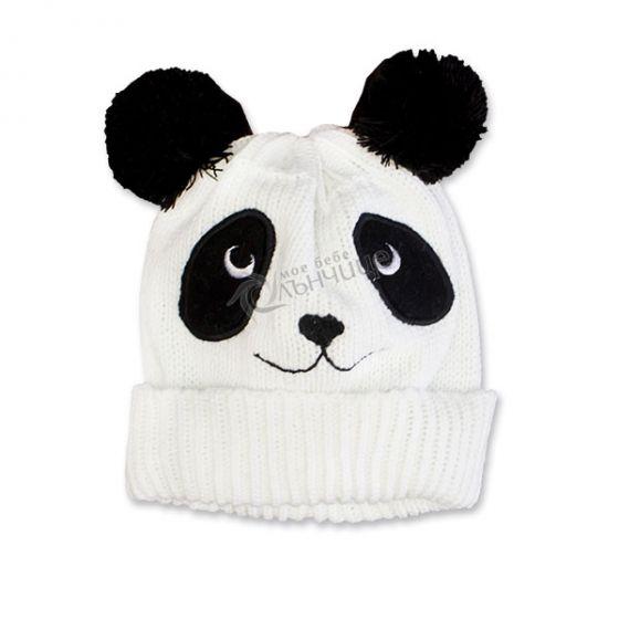 Зимна плетена шапка - Panda