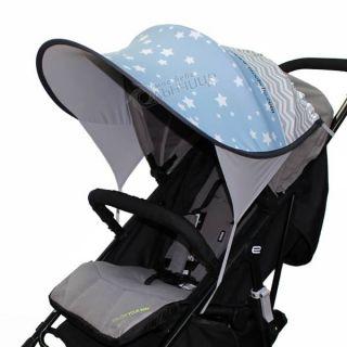 Дизайнерски двулицев сенник за бебешка количка с UV защита - Starry Dreams