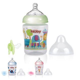 Комплект антиколик шише Merry Animals 270 мл + анатомична залъгалка 0м.+ - Nuby