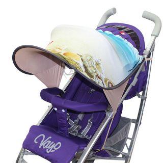 Дизайнерски двулицев сенник за бебешка количка с UV защита - Beach