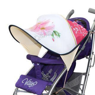 Дизайнерски двулицев сенник за бебешка количка с UV защита - Cherry Blossom