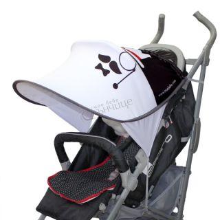 Дизайнерски двулицев сенник за бебешка количка с UV защита - Moustache