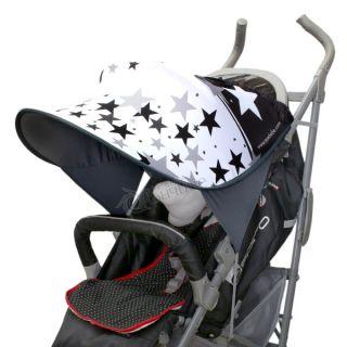 Дизайнерски двулицев сенник за бебешка количка с UV защита - Black & White Stars