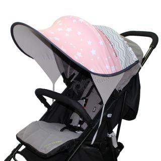 Дизайнерски двулицев сенник за бебешка количка с UV защита - Starry Dreams Pink