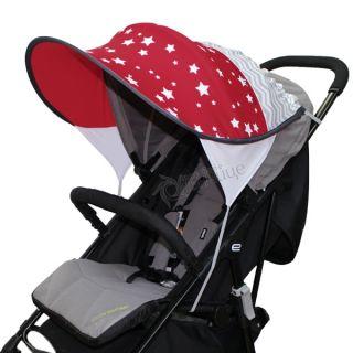 Дизайнерски двулицев сенник за бебешка количка с UV защита - Starry Dreams Red