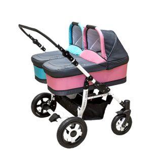 Комбинирана количка за близнаци S-MAX DOUBLE PINK&BLUE
