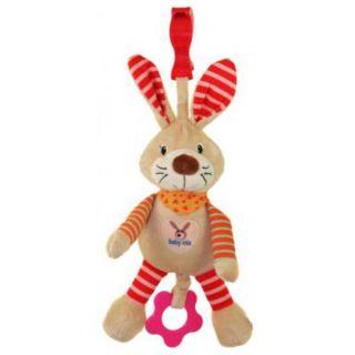 Плюшена музикална играчка Зайче с шалче - BABY MIX