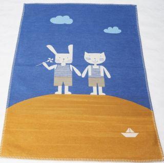 Памучно одеяло от органичен памук - Коте и зайче