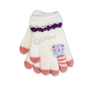 Зимни плетени ръкавици - Winter White