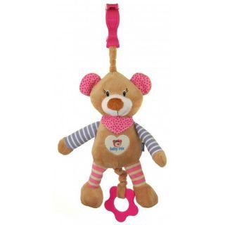 Плюшена музикална играчка Мече с шалче - BABY MIX