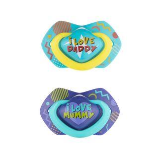 Комплект от 2 бр. симетрични силиконови залъгалки - NEON LOVE