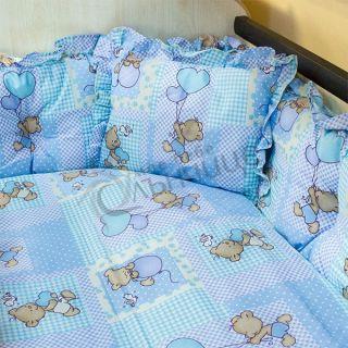 Спален комплект Мече с балони Син