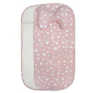 Подложка за количка с възглавница и хавлиен гръб - Starry Dreams Pink